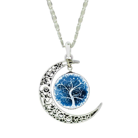 Carve Flower Crescent Moon Life Tree Glass Cabochon Pendant Chain Necklace