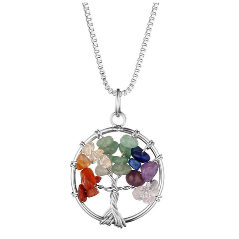 Crystal Quartz Tree of Life Pendant Necklace - 7 Chakras Gemstone Charms
