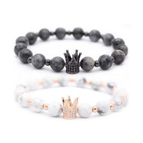 Black Labradorite & White Howlite CZ Her King/His Queen 8mm Beads Couple Bracelet