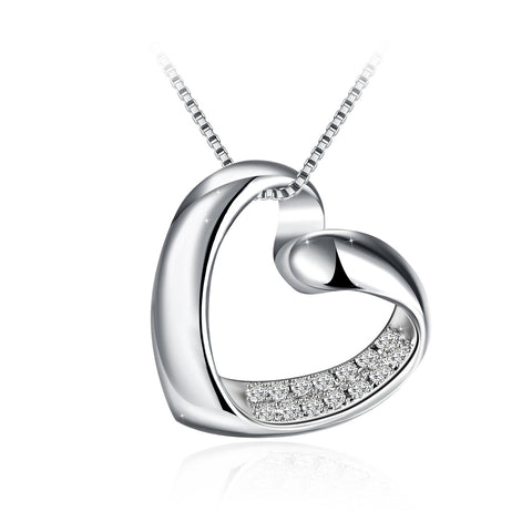 Heart Shape 925 Sterling Silver AAA Cubic Zirconia Fashion Pendant Necklace