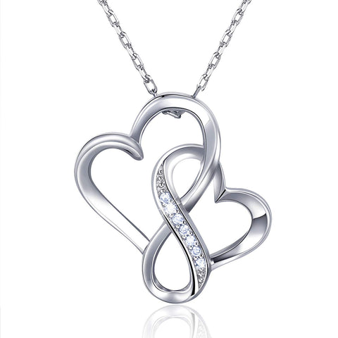 Infinity Double Heart Endlessness Love Platinum Plated Diamond Pendant