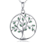 Life Tree Pendant Gemstone White Gold Plated Sterling Silver Necklace