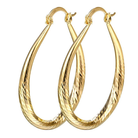 Elegant 18k Yellow Gold Filled stud Hoop Dangle Earring