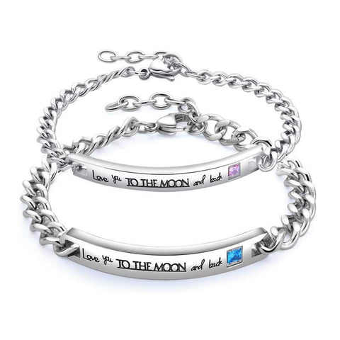 |Love You to The Moon and Back| His & Her Titanium Couples Bracelets Set