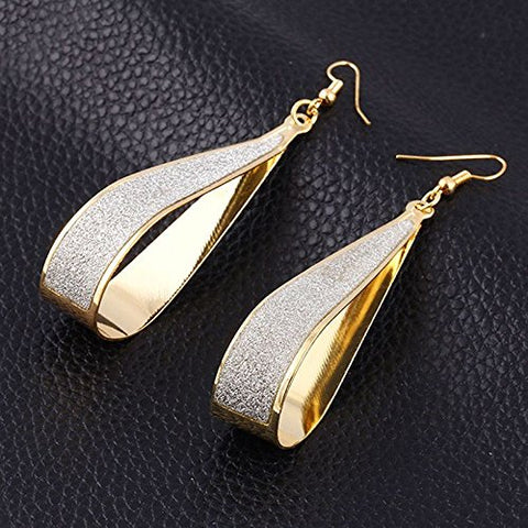Silver Crystal Scrub Water Drop Hook Dangle Earrings