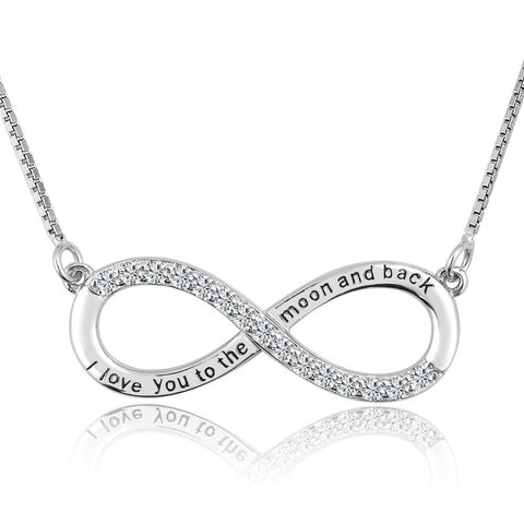 Forever Love Infinity Sterling Silver Heart Necklace for Mom