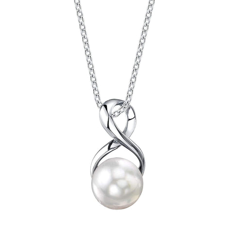 Genuine Freshwater Cultured Pearl Infinity Pendant Necklace for Women