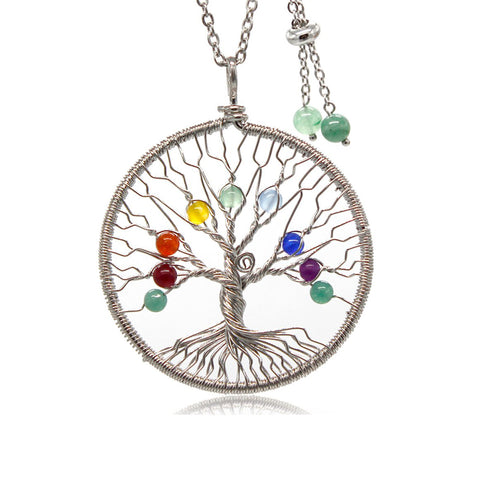 Tree of Life Dainty 7 Chakra Long Pendant  Necklaces for Women