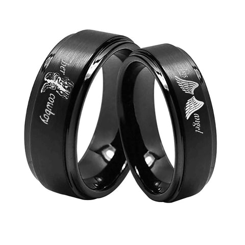 His Angel and Her Cowboy Stainless Steel Black Couple Rings