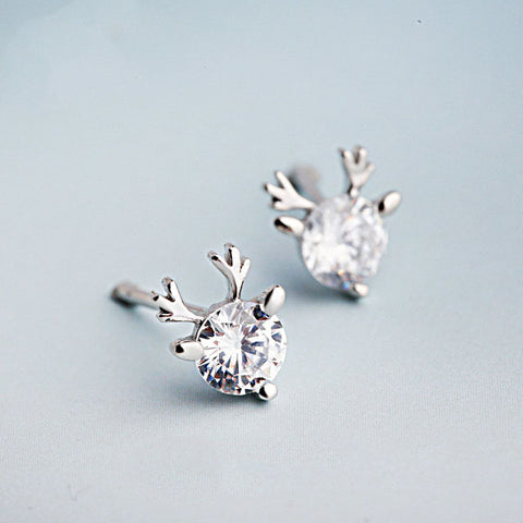 Antler With Brilliant Cut Zircon 925 Sterling Silver Sud Earrings