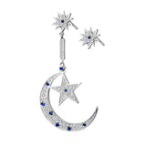 Silver Moon Star Drop Earring Set