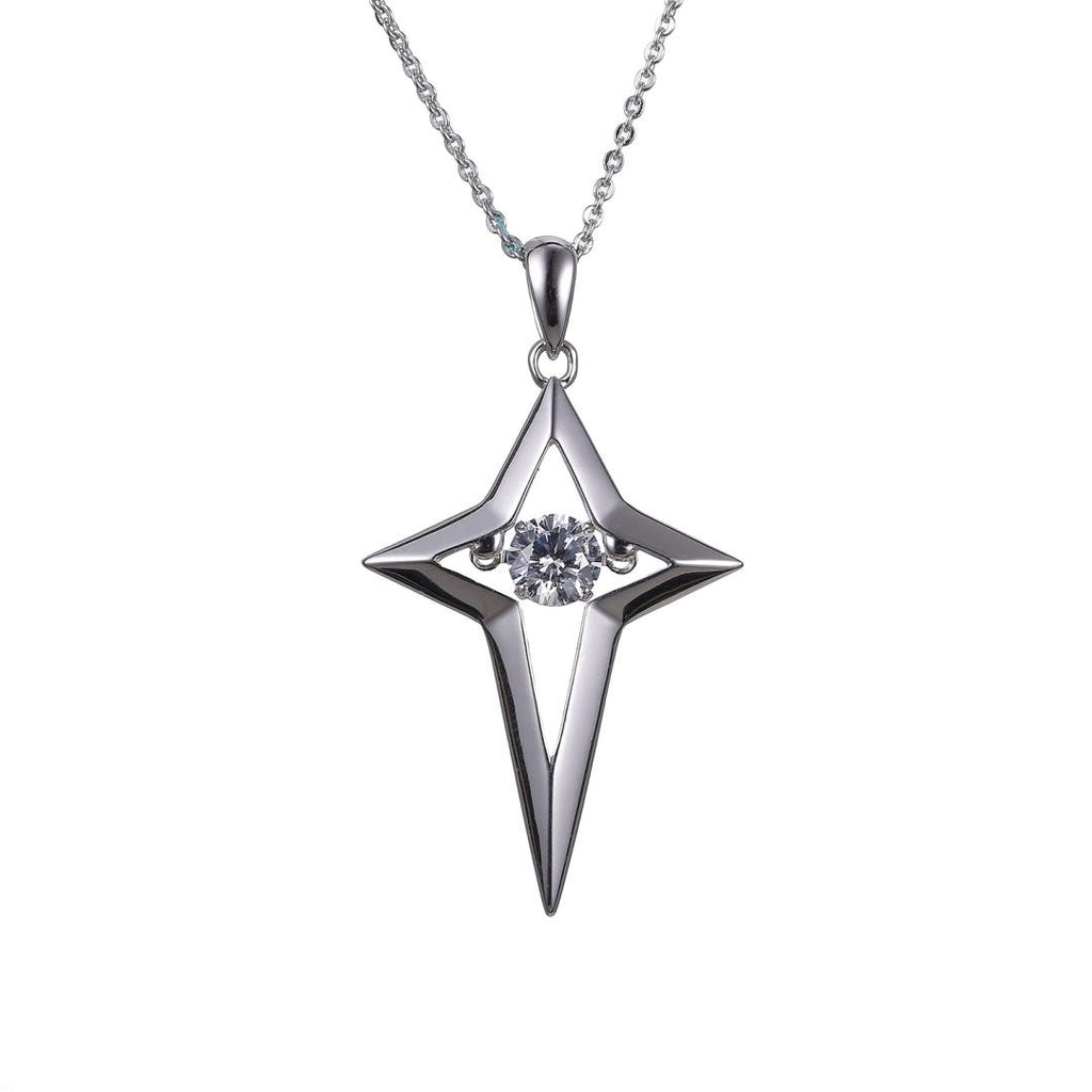 Sterling Silver Glamorous Night Star Dancing Diamond Pendant Necklace