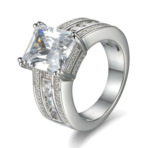 Emerald Cut Created White Sapphire Engagement Wedding Ring