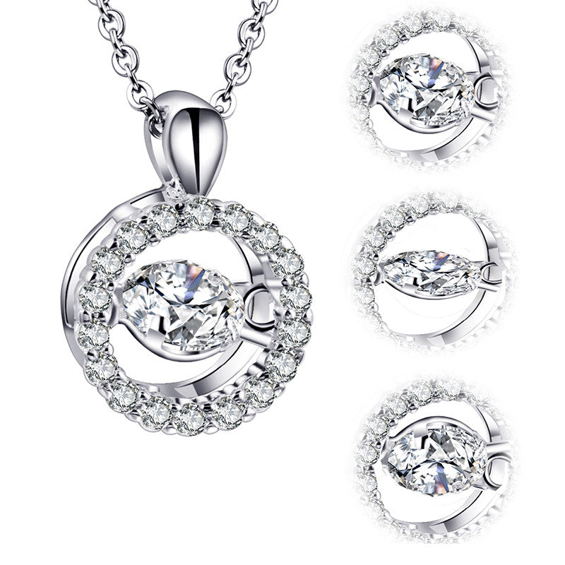 Women's Pendant Necklace Daily Round Rolling CZ Alloy Silver