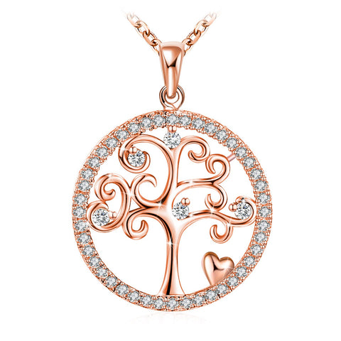 Rose Gold Plated Tree of Life Pendant Necklace 925 Sterling Silver for Women Girls