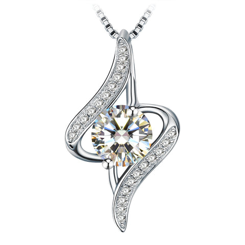 White Cubic Oval Cut Zirconia Silver Chain Twist 925 Sterling Silver Pendant Necklace
