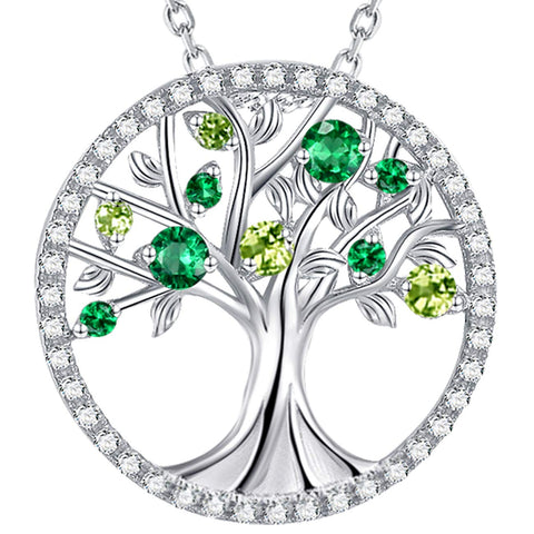 The Tree of Life Green Emerald Peridot Sterling Silver Pendant Necklace