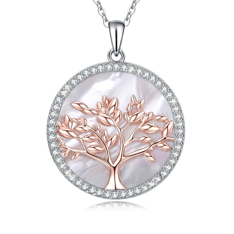 Tree of Life Women's Sterling Silver Mother of Pearl Pendant Necklace