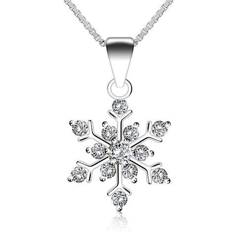 Snowflake Charm Sterling Silver Pendent Necklace for Women