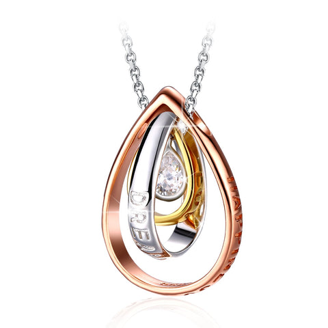 Drop Necklace Engraved Dream 925 Sterling Silver Pendant Necklace for Women