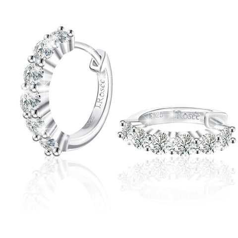 High Polished Cubic Zirconia Small Hinged Hoop Earrings