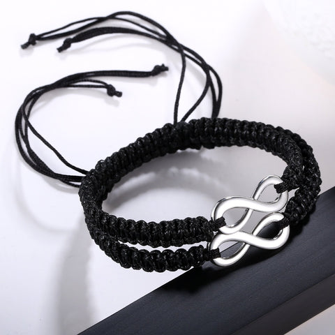Infinity Couple Braided Handcrafted Leather Luck Bracelet Bangle Rope Adjustable Chain