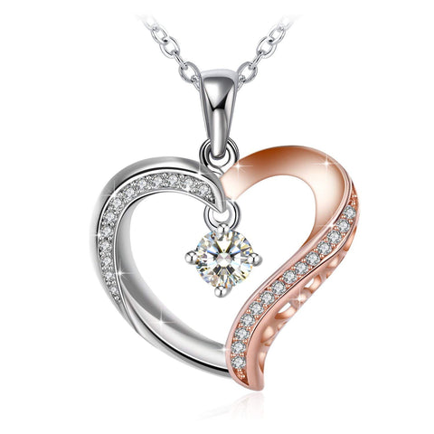 Forever Love for Mom Two-Tone Heart 925 Sterling Silver Pendant Necklace