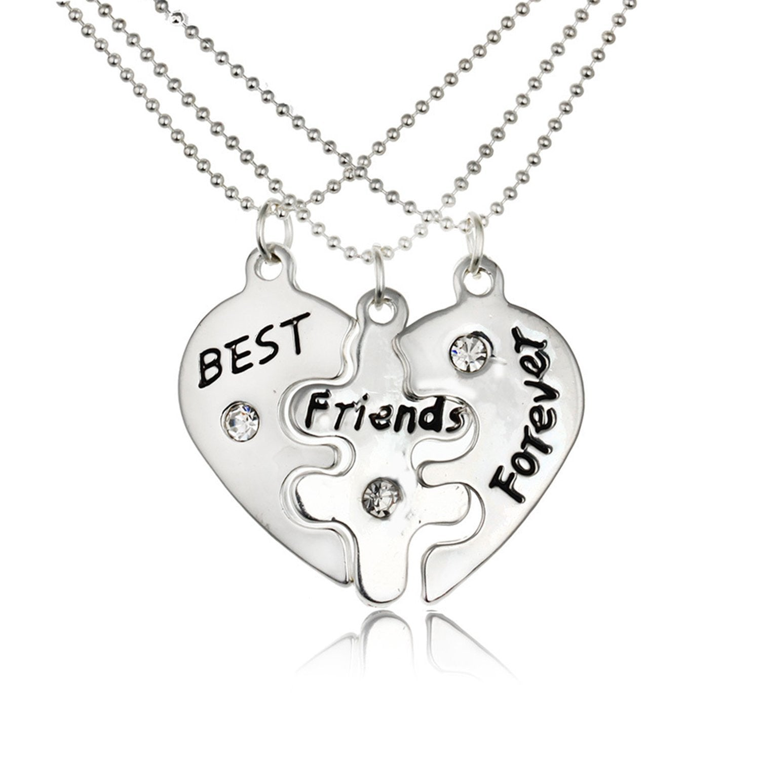 Friendship Pendant Necklace Best friends forever split heart pendant necklace bff heart best friends forever split heart pendant necklace bff heart friendship necklace set of 3 audiocablefo