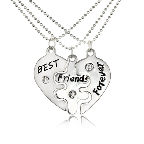 Best Friends Forever Split Heart Pendant Necklace BFF Heart Friendship Necklace Set of 3