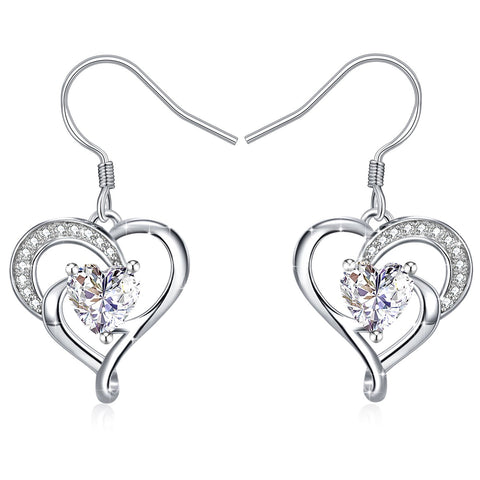 Love Shaped Cubic Zirconia Sterling Silver Heart Dangle Earrings