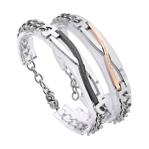 Stainless Steel CZ Love for Men Women Couple Bracelet Link Chain Wrist Bangles Gift Set for Lover