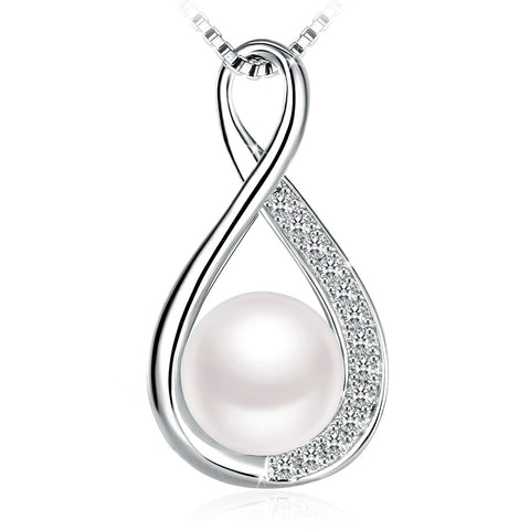 Freshwater Cultured Pearl Linear Swirl 925 Sterling Silver Pendant Necklaces