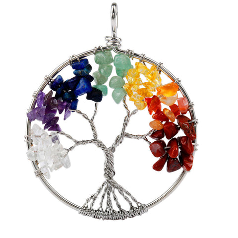 Gemstone Tree of Life Pendant Necklaces for Women