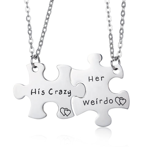 Stainless Steel His Crazy Her Weirdo Couples Keychains Set