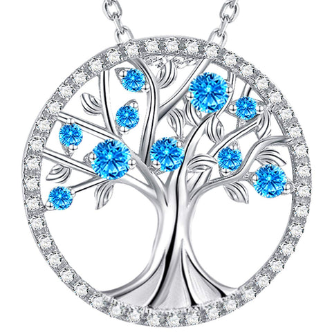 Created Aquamarine Tree of Life Sterling Silver Necklace for Her