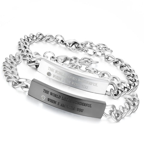 His & Hers |Be with You| Stainless Steel Wedding Couples Bracelet