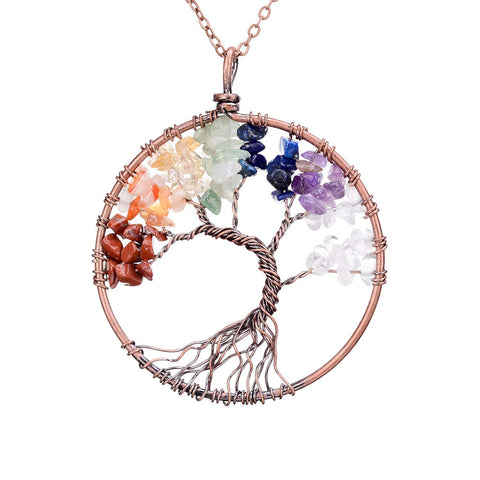 Amethyst Rose Crystal Tree of Life Pendant Necklace