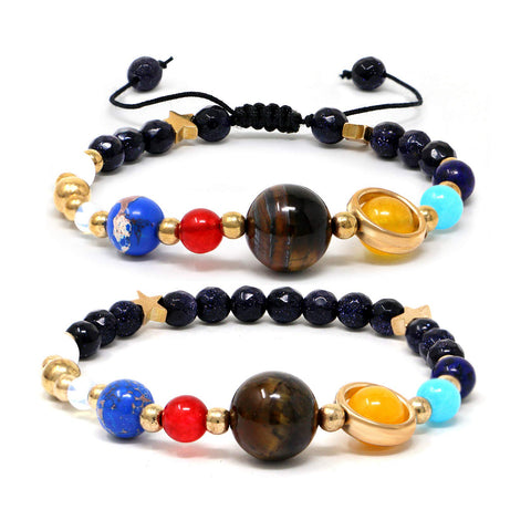 The Eight Planets Guardian Star Universe Galaxy Natural Stone Beads Bracelet