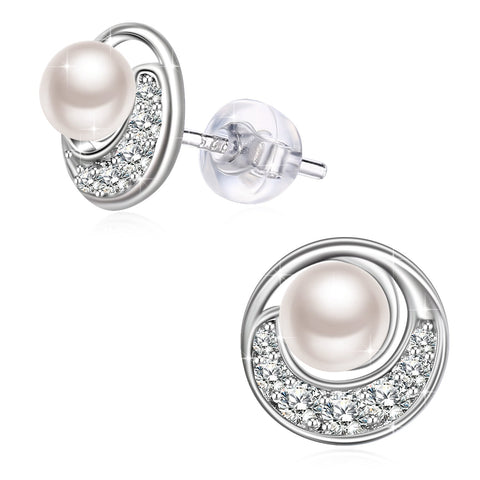 Cubic Zirconia Moon Freshwater Pearl 925 Sterling Silver Stud Earrings for Women