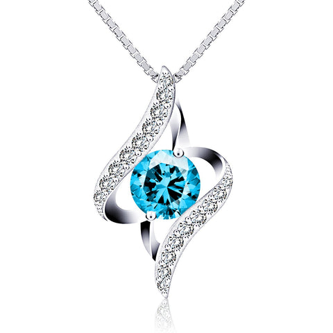 Oval Cut Blue Cubic Zirconia Silver Chain Twist Women 925 Sterling Silver Pendant Necklace