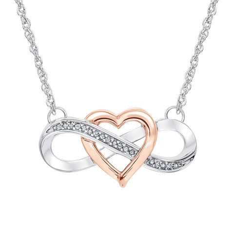 Two-Tone Interlocking Heart Infinity Pendant Necklace
