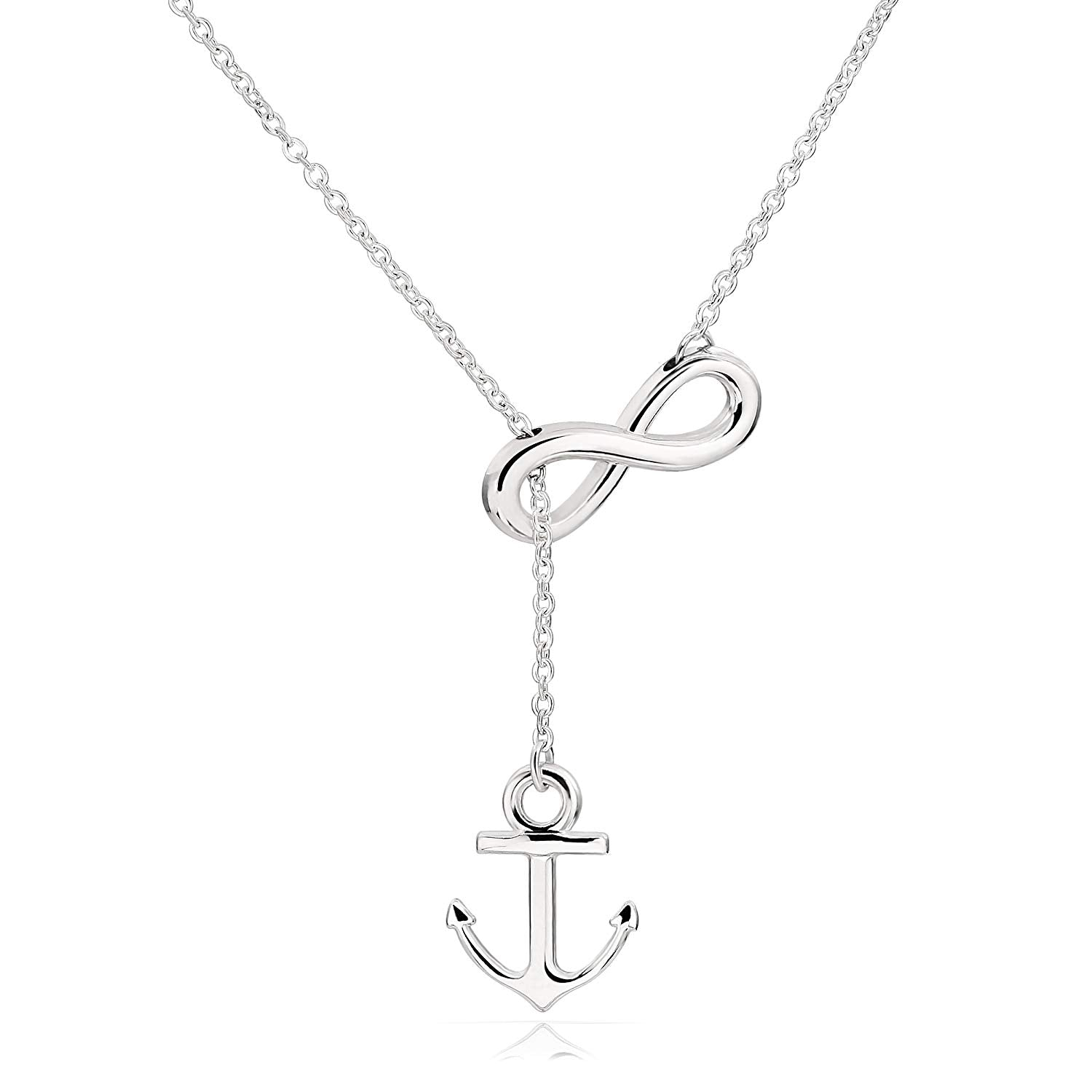 44bcf545787a8 Stainless Steel Anchor Infinity Y Shaped Lariat Style Necklace - EverMarker