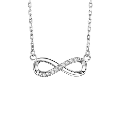 Infinity Forever Love Pendant Offer 18K White Gold Delicate Choker for Women