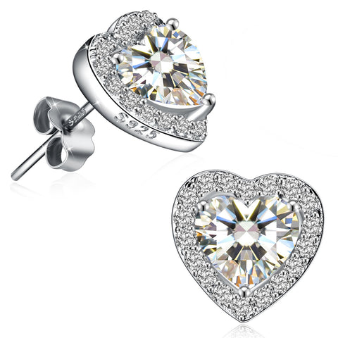 High Polished Round Cut Heart-Shape Small Stud Earrings Best Gifts for Her