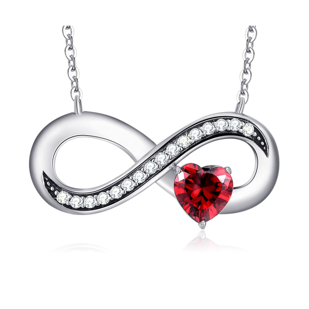 Infinity Love 925 Sterling Silver Ruby Heart Pendant Necklace