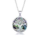 Sterling Silver Natural Turquoise/Abalone/Mother-of-Pearl Stone Tree of Life Circle Pendant