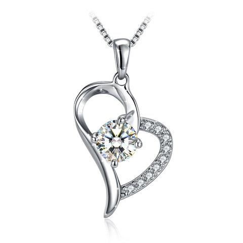 Heart Twist  Women 925 Sterling Pendant Necklace