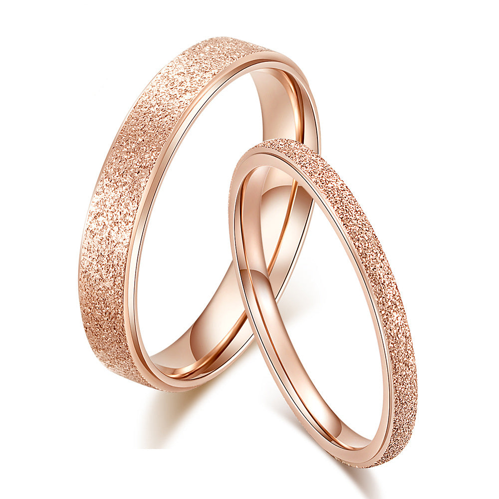 Frosted Titanium Rose Gold and Silver Plated Couple Rings