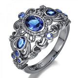 Retro Blue Diamond 925 Sterling Silver Engagement Ring