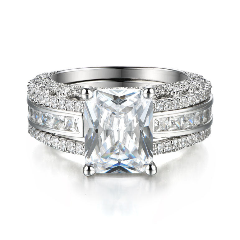 Interchangeable Radiant Cut Created White Sapphire Wedding Ring Set